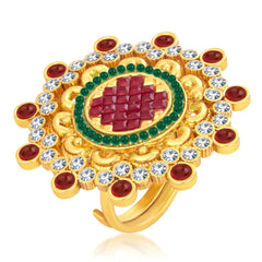 Sukkhi Intricately Crafted Designer Traditional Cocktail Invisible Setting Gold Plated AD Finger Ring For Women