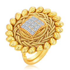 Sukkhi Finely Designer Traditional Cocktail Invisible Setting Gold Plated American Diamond Finger Ring For Women