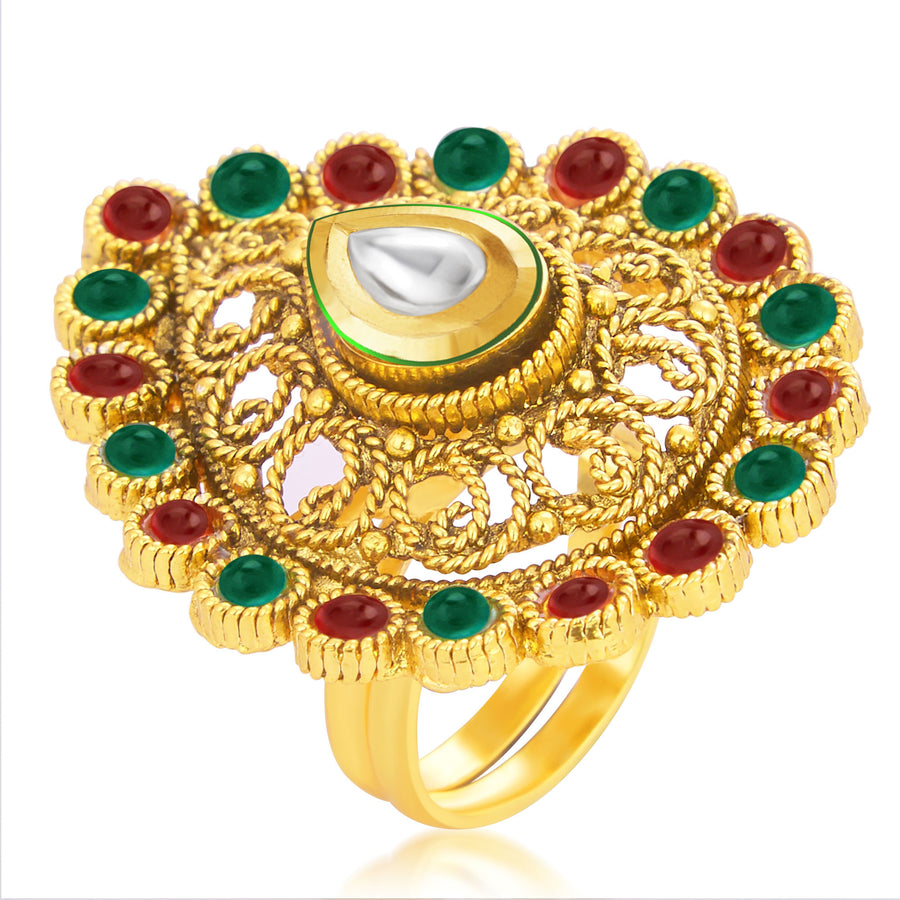 traditional polki ring plated products rings jewellery golden punjabi by