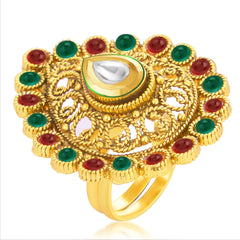 Sukkhi Bewitching Designer Traditional Cocktail Kempu Stone Gold Plated Kundan Finger Ring For Women