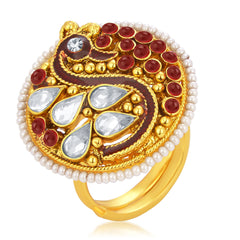 Sukkhi Fabulous Designer Traditional Cocktail Peacock Gold Plated American Diamond Finger Ring For Women