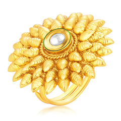 Sukkhi Cluster Designer Traditional Cocktail Gold Plated Kundan Finger Ring For Women