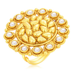 Sukkhi Glistening Designer Traditional Cocktail Gold Plated Finger Ring For Women