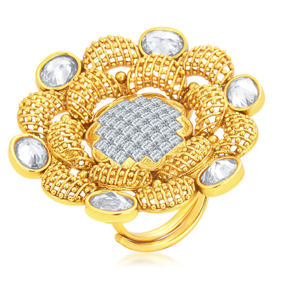 Sukkhi Alluring Designer Traditional Cocktail Gold Plated American Diamond Finger Ring For Women