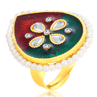 Sukkhi Youthful Designer Traditional Cocktail Gold Plated Finger Ring For Women