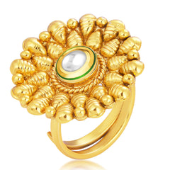 Sukkhi Exotic Designer Traditional Cocktail Gold Plated Kundan Finger Ring For Women