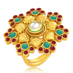 Sukkhi Sublime Designer Traditional Cocktail Gold Plated Kundan Finger Ring For Women