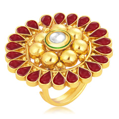 Sukkhi Glorious Designer Traditional Cocktail Gold Plated Kundan Finger Ring For Women