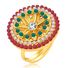 Sukkhi Cluster Designer Traditional Cocktail Gold Plated Finger Ring For Women