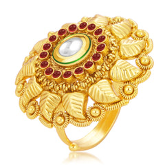 Sukkhi Intricately Designer Traditional Cocktail Gold Plated Kundan Finger Ring For Women