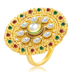 Sukkhi Glittery Designer Traditional Cocktail Gold Plated Kundan Finger Ring For Women