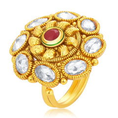 Sukkhi Classic Designer Traditional Cocktail Gold Plated American Diamond Finger Ring For Women