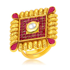 Sukkhi Gleaming Invisible Setting Designer Traditional Cocktail Gold Plated American Diamond Ring For Women