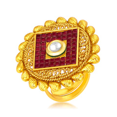 Sukkhi Bewitching Invisible Setting Designer Traditional Cocktail Gold Plated American Diamond Ring For Women