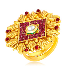 Sukkhi Eye-Catchy Invisible Setting Designer Traditional Cocktail Gold Plated American Diamond Ring For Women