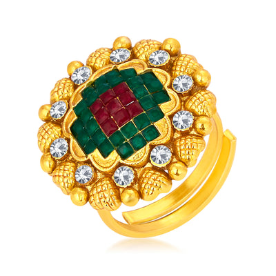 Sukkhi Enchanting Invisible Setting Designer Traditional Cocktail Gold Plated American Diamond Ring For Women
