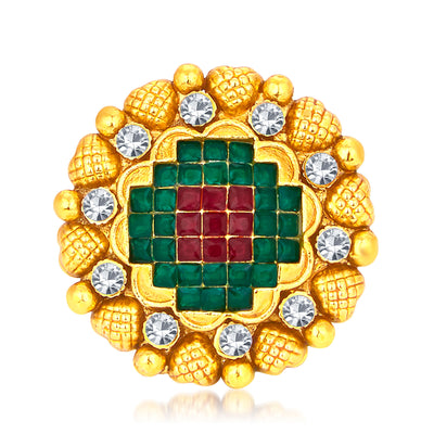 Sukkhi Enchanting Invisible Setting Designer Traditional Cocktail Gold Plated American Diamond Ring For Women-1