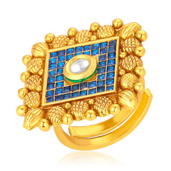 Sukkhi Elegant Invisible Setting Designer Traditional Cocktail Gold Plated American Diamond Ring For Women