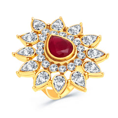 Sukkhi Marquise Gold Plated AD Ladies Ring For Women