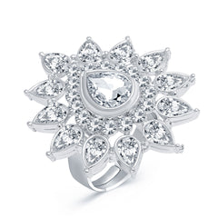 Sukkhi Astonishing Rhodium Plated AD Ladies Ring For Women