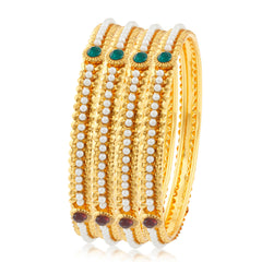 Sukkhi Graceful Gold Plated Bangles For Women Set Of 4