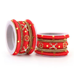 Sukkhi Pleasing Red Colour Gold Plated Thread Bangles Chuda For Women Set Of 18