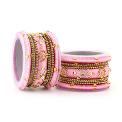 Sukkhi Sublime Pink Colour Gold Plated Thread Bangles Chuda For Women Set Of 18