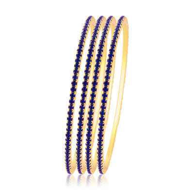 Sukkhi Gorgeous Blue Stone Studded Bangle For Women Set Of 4