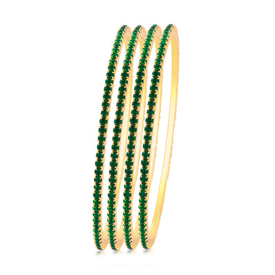 Sukkhi Glistening Green Stone Studded Bangle For Women Set Of 4