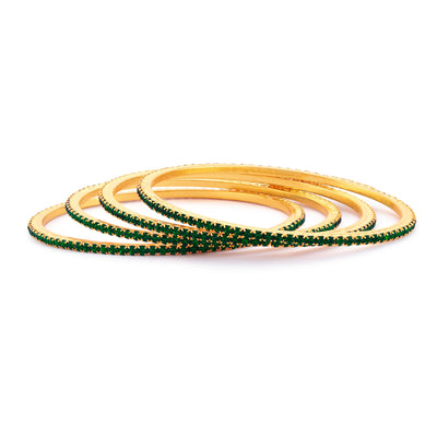 Sukkhi Glistening Green Stone Studded Bangle For Women Set Of 4-1