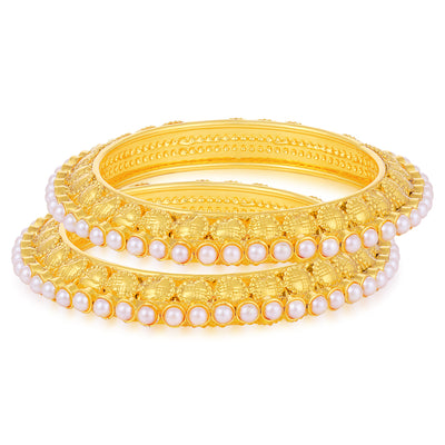 Sukkhi Lovely Gold Plated Pearl Bangle For Women (Set of 2)