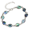 Sukkhi Ritzy Aqua Blue Pear Crystal Stone Rhodium Plated Bracelet for Women