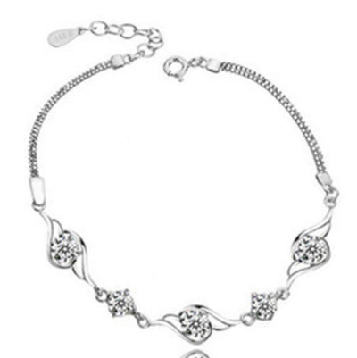 Sukkhi Shimmering Crystal Stone Rhodium Plated Bracelet for Women