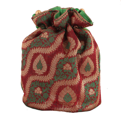 Sukkhi Traditional Red, Green and Gold Potli Bag-1