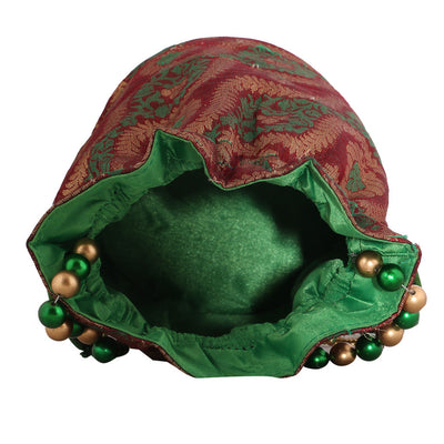 Sukkhi Traditional Red, Green and Gold Potli Bag-2
