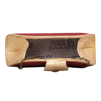 Sukkhi Red and Gold Unique Clutch Handbag-2