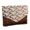 Sukkhi Stylish White and Brown Clutch Handbag