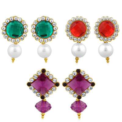 Sukkhi Marquise Pearl Gold Plated Set of 3 Pair Drop Earring Combo For Women