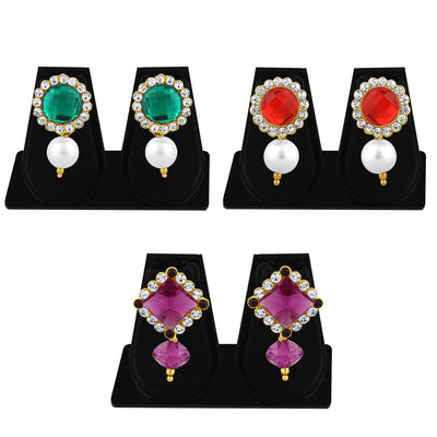 Sukkhi Marquise Pearl Gold Plated Set of 3 Pair Drop Earring Combo For Women-1