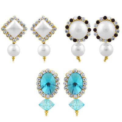 Sukkhi Exquisite Pearl Gold Plated Set of 3 Pair Drop Earring Combo For Women