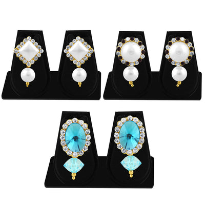 Sukkhi Exquisite Pearl Gold Plated Set of 3 Pair Drop Earring Combo For Women-1