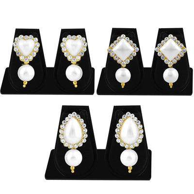 Sukkhi Shimmering Pearl Gold Plated Set of 3 Pair Drop Earring Combo For Women-1