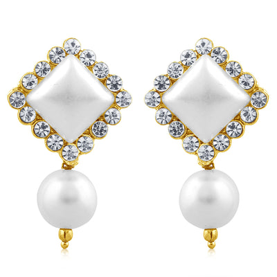 Sukkhi Shimmering Pearl Gold Plated Set of 3 Pair Drop Earring Combo For Women-5