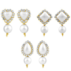 Sukkhi Shimmering Pearl Gold Plated Set of 3 Pair Drop Earring Combo For Women