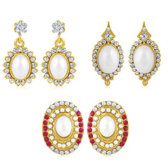 Sukkhi Eye-Catchy Pearl Gold Plated Set of 3 Pair Drop Earring Combo For Women