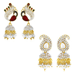 Sukkhi Glorious Pearl Peacock Gold Plated Set of 2 Pair Jhumki Earring Combo For Women