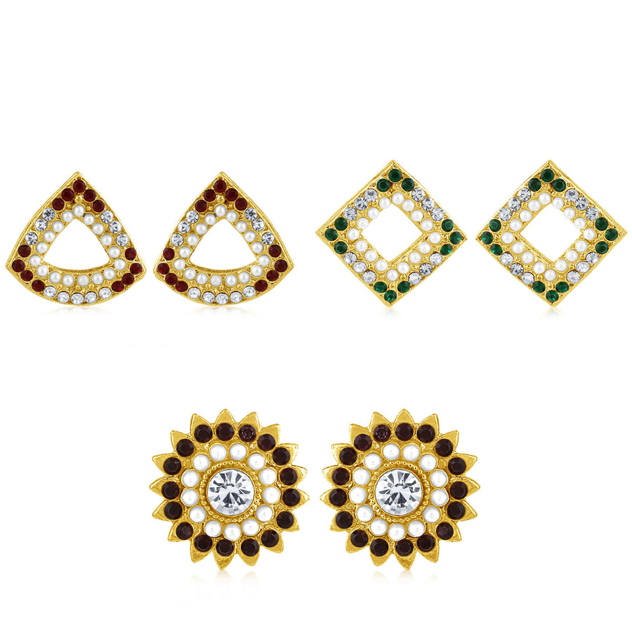 fd77cd3b0 Sukkhi Fashionable Pearl Gold Plated Set of 3 Pair Stud Earring Combo For  Women