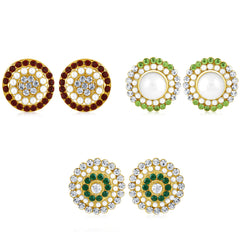 Sukkhi Cluster Pearl Gold Plated Set of 3 Pair Stud Earring Combo For Women