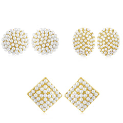 Sukkhi Gleaming Pearl Gold Plated Set of 3 Pair Stud Earring Combo For Women
