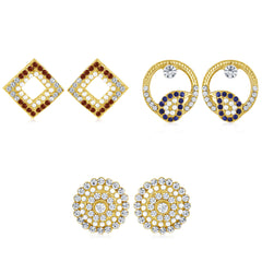 Sukkhi Bewitching Pearl Gold Plated Set of 3 Pair Stud Earring Combo For Women